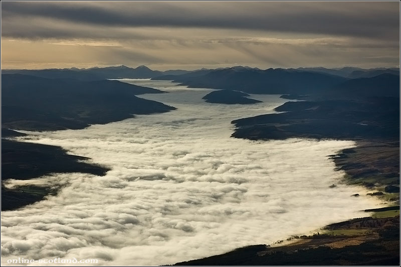 Aerial Photo of low cloud over Strathtay, Perthshire
